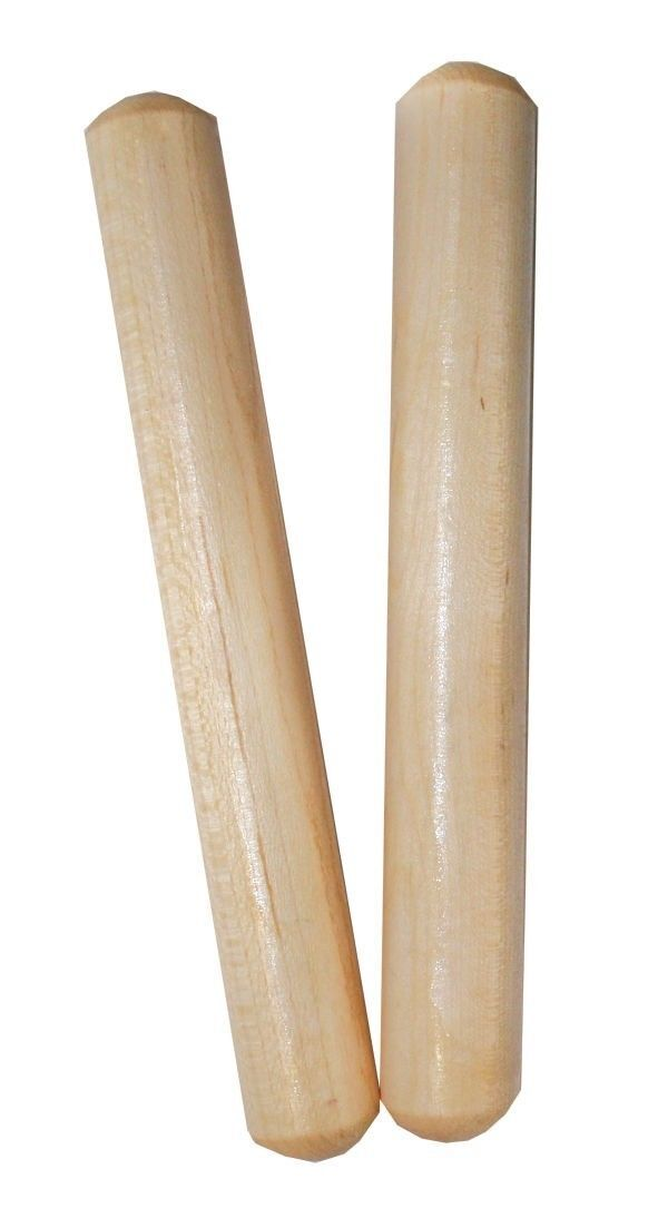 """MANO PERCUSSION - Wooden Round 6"""" Claves Educational, Pair, Natural Finish"""