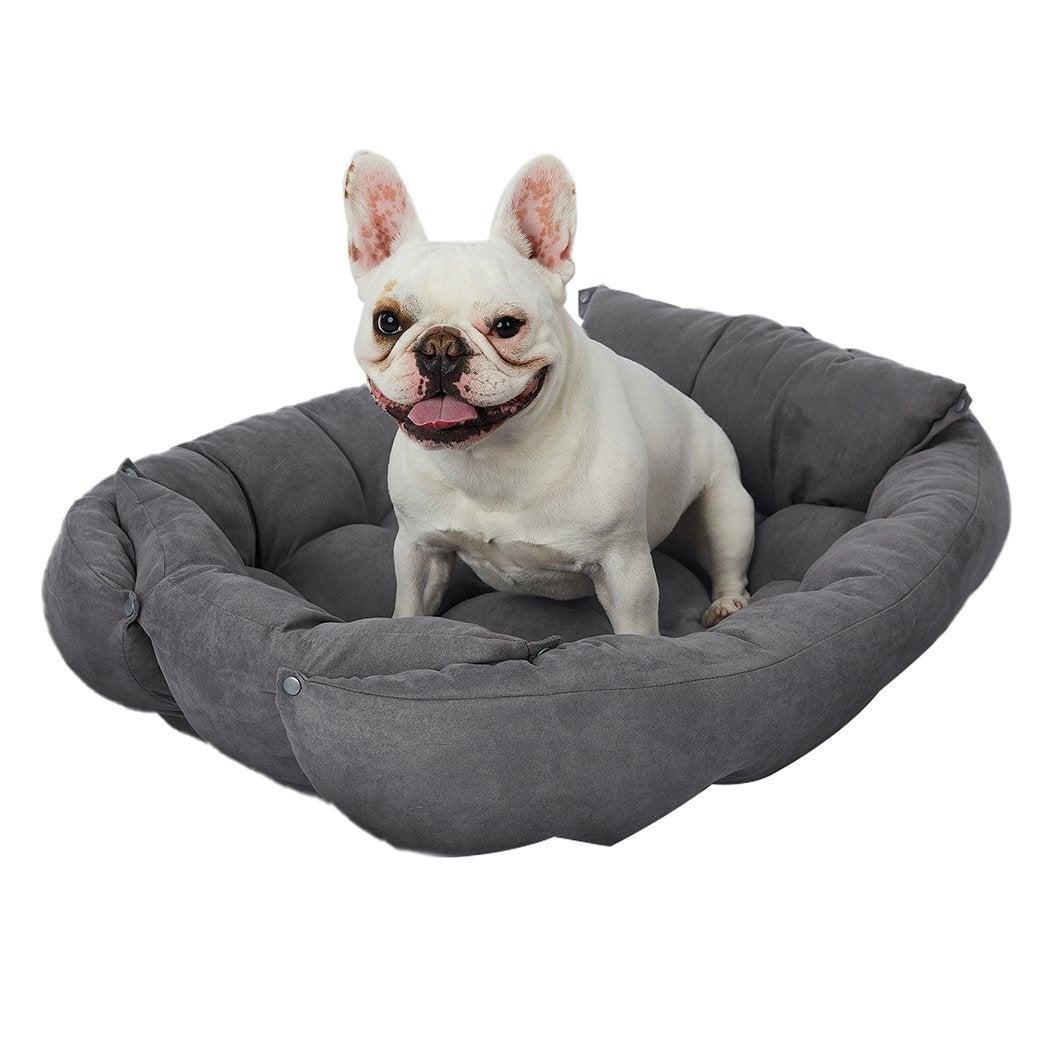 PaWz Pet Bed 2 Way Use Dog Cat Soft Warm Calming Mat Sleeping Kennel Sofa Grey S