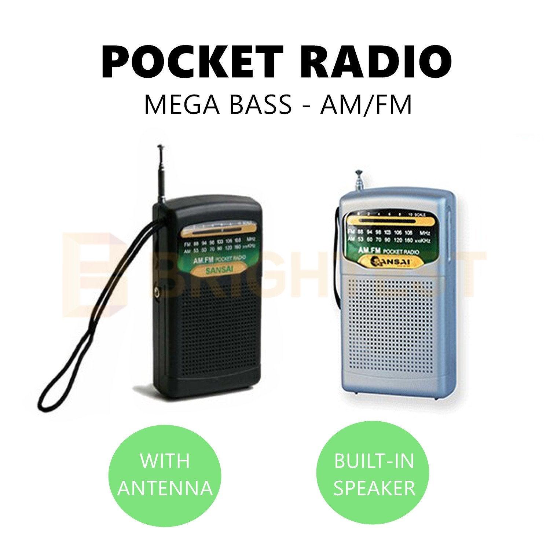 Pocket Portable Radio AM/FM Speaker Mega Bass Antenna Compact Earphone Jack