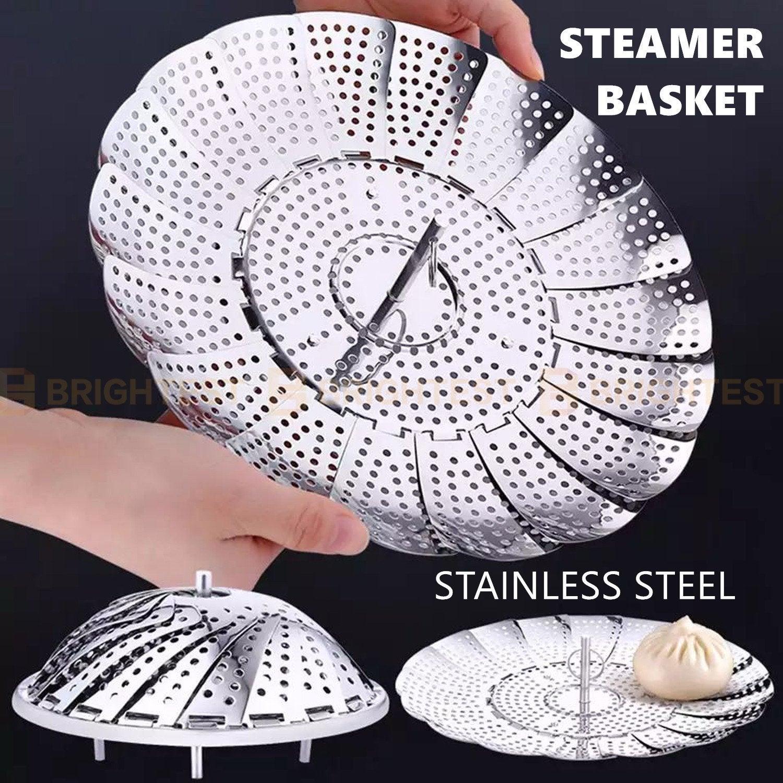 Stainless Steel Steamer Basket Folding Multi-Function Steam Tray Plate Vegetable