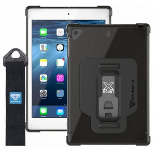 Armor-X (DSX Series) Ultra Slim 4 Corner Anti-impact Case w/ Kickstand & Hand strap for iPad Mini 5 /Mini 4 - Integrated X-Mount Type-T adaptor (Support Armox-X X-Mount Type-T Mount Accessories)