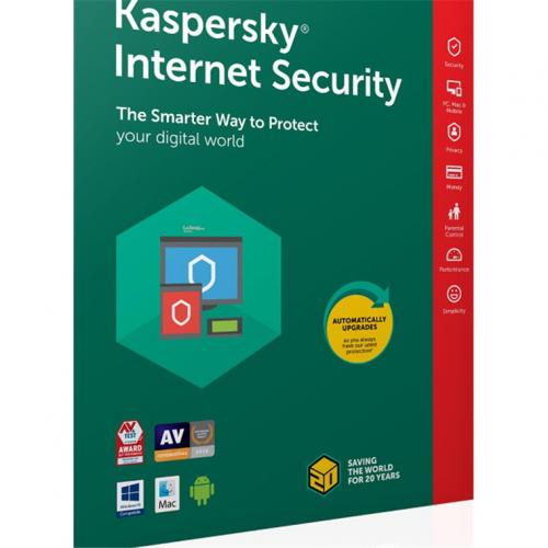 Kaspersky Internet Security Australia and New Zealand Edition. 3-Device 2 year Base Card OEM with licence keys printed on