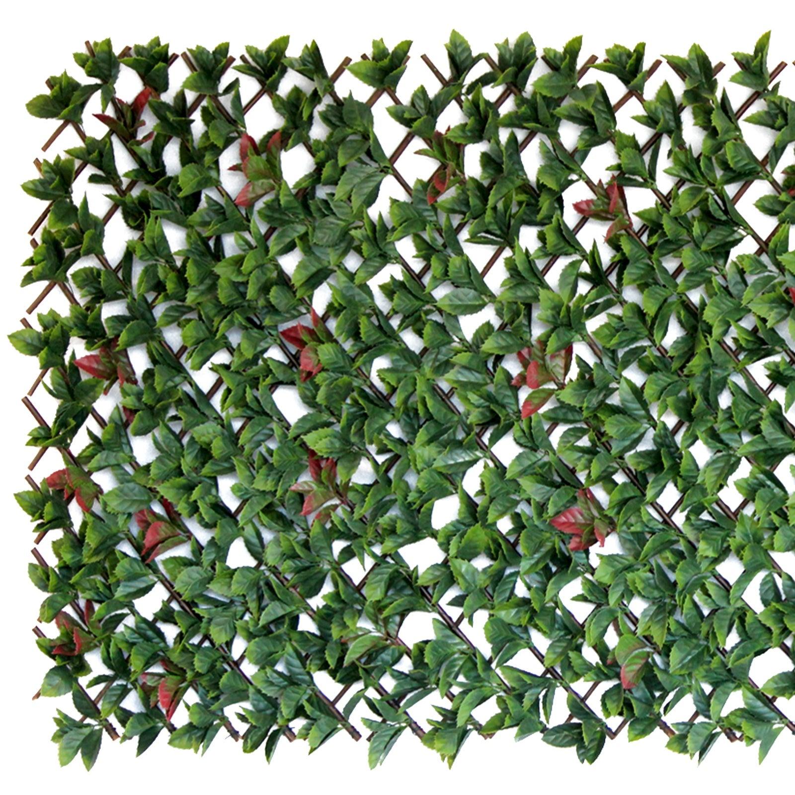 Red Photinia Artificial Hedge Expandable Trellis: 180cm x 90cm