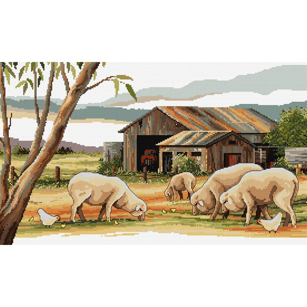 Country Threads SHEEP SHED Counted Cross Stitch Kit, 30 x 50cm, FJ-1083
