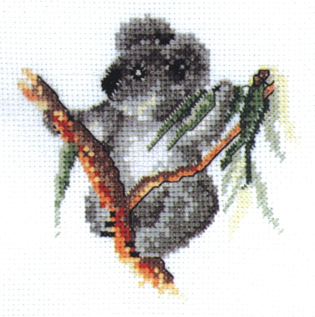 DMC BABY KOALA, Australiana Cross Stitch Kit 15 x 15cm 18ct Aida, AXRS.003