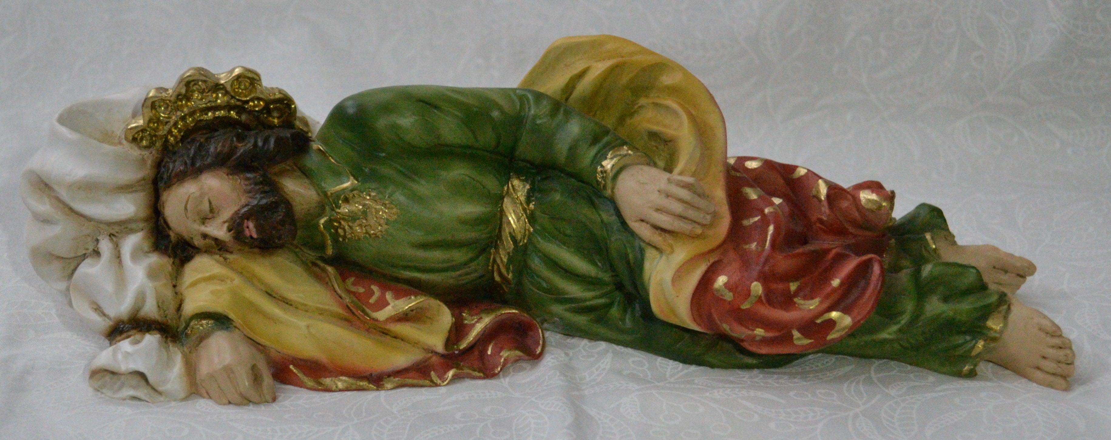 Saint Joseph 26cm Sleeping Statue, Heavy Resin Construction, Made in Italy