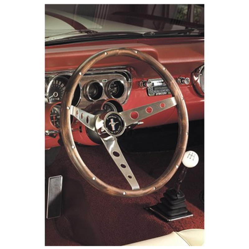 """Grant 13-1/2"""" Classic Steering Wheel With Mustang Horn Button Brushed S/S 3 Spoke, Hardwood Grip. 3-3/4"""" Dish"""