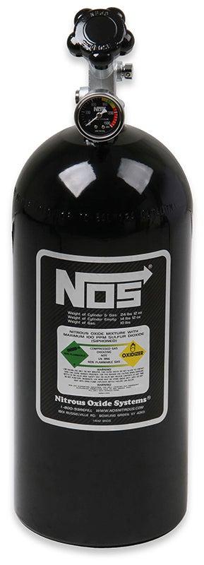 """NOS Nitrous Bottle 10-lb (Black) 21"""" x 7"""" dia With Hi-Flo Valve & Gauge"""
