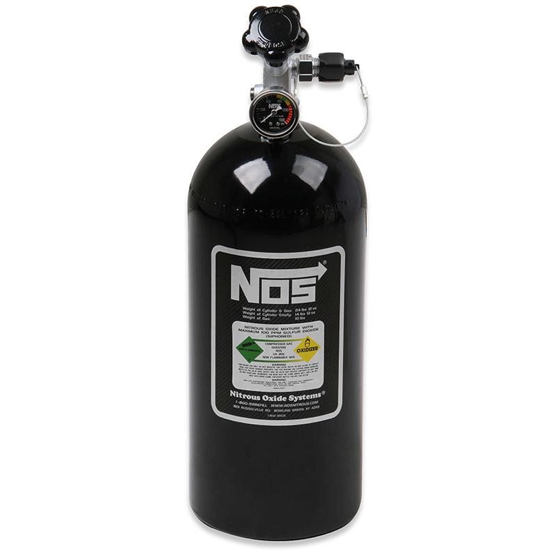 """NOS Nitrous Bottle 10-lb (Black) 21"""" x 7"""" With Hi-Flo Valve & Safety Blow-Off"""