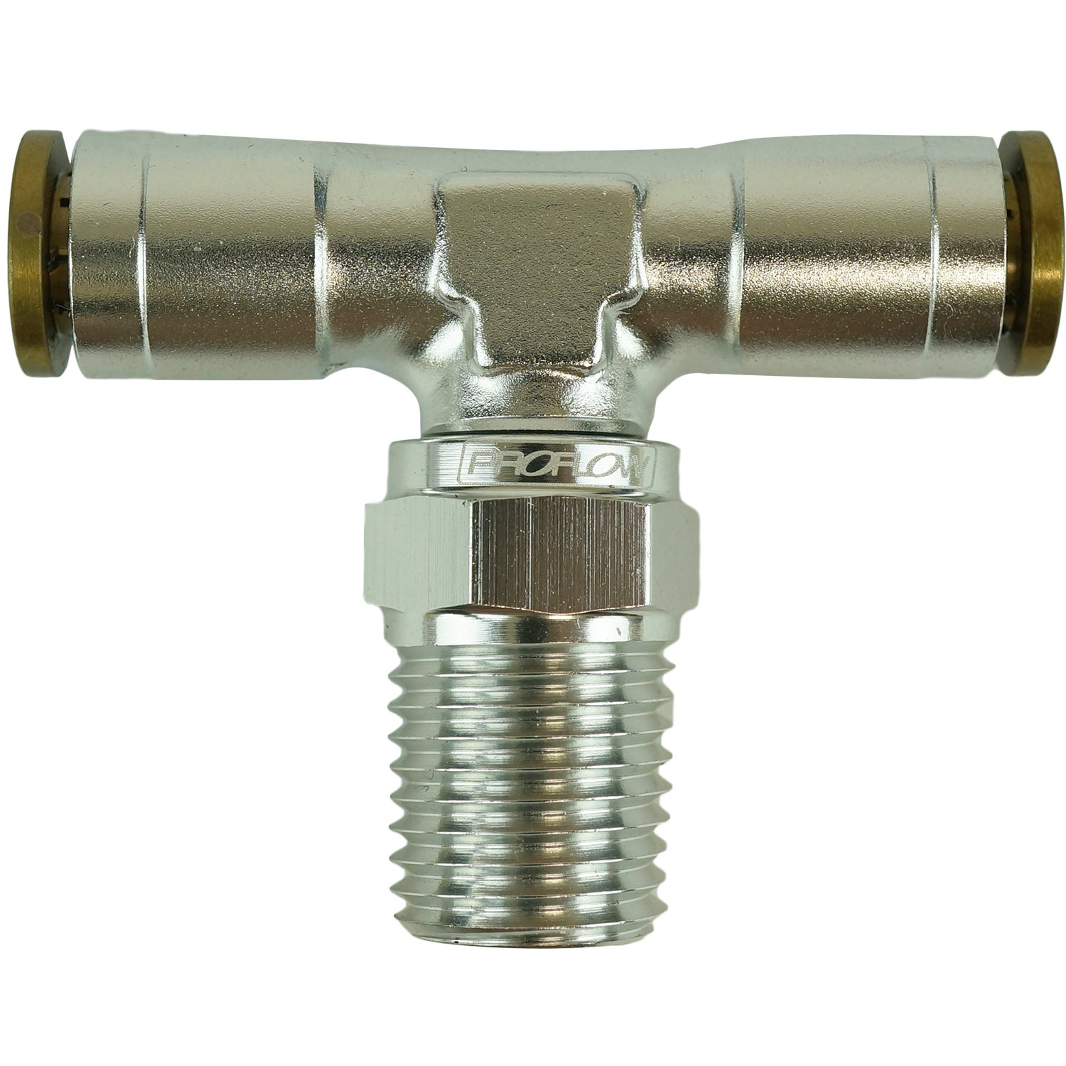 Proflow Fitting Push Release Tee 1/4in. Tube To 1/4in. NPT Silver