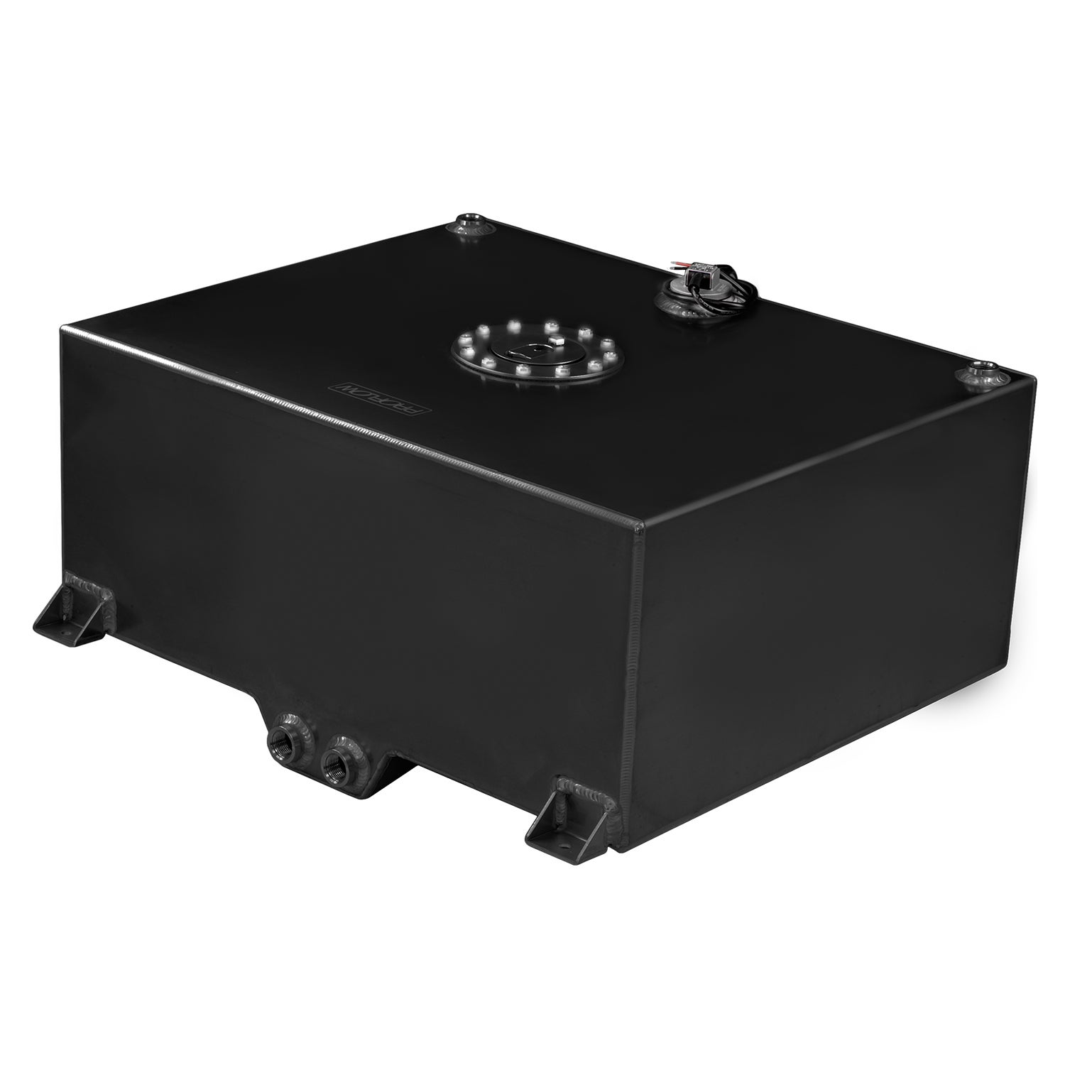 Proflow Fuel Cell Tank 15g 57L Aluminium Black 510 x 460 x 260mm With Sender Two -10 AN Female Outlets Each