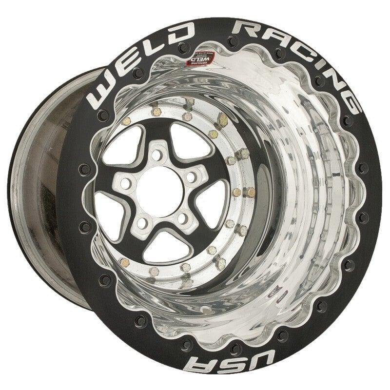 Weld Racing Wheel Alumastar 15x12 Size 5x4.5 Bolt Pattern 4 in. Backspace Black Center Polished Shell Black SBL MT Each