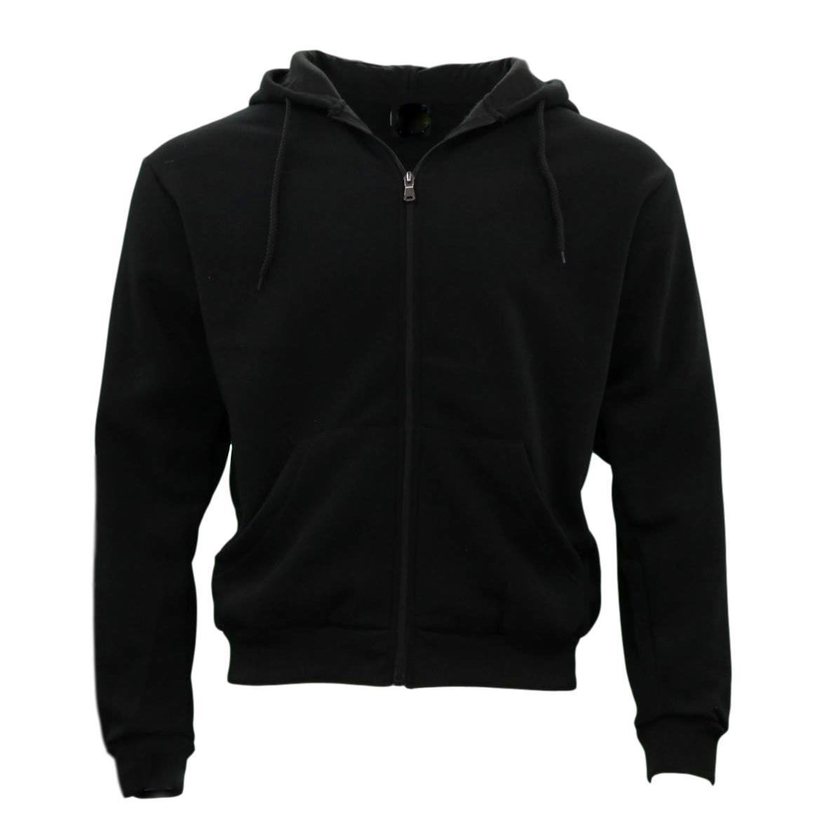 Adult Unisex Men's Zip Up Hoodie w Fleece Hooded Jacket Jumper Basic Blank Plain