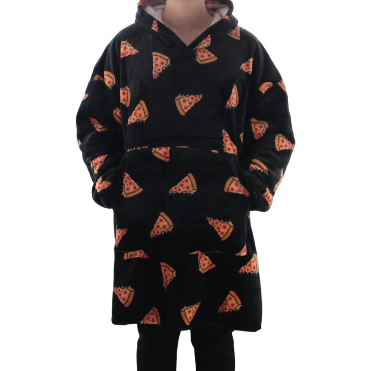 FIL Oversized Hoodie Blanket Oodie Plush Warm Big Fleece Soft Winter Pullover [Design: Blue with Bears]