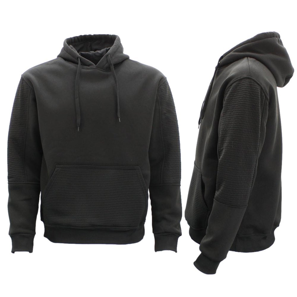 Men's Fleece Pullover Hoodie Hooded Jumper Sweater w Ribbed Pockets Sleeve