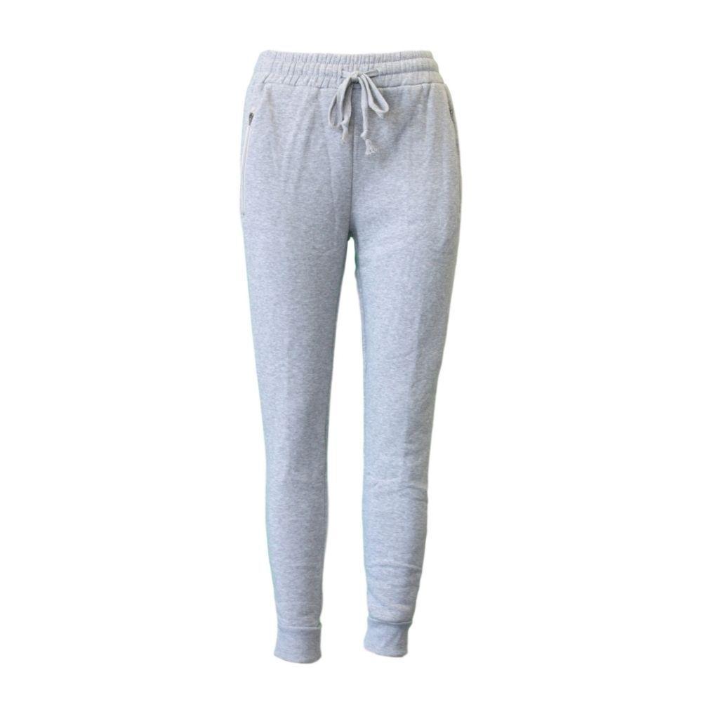 Women's Track Pants Soft Fleece Slim Cuff w Zipped Pockets Ladies Trackies Basic [Size: 8] [Colour: Black]