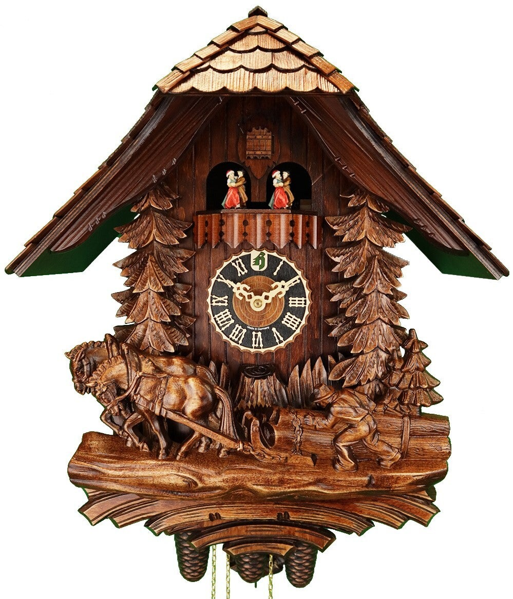 Horses & Logger 8 Day Mechanical Carved Cuckoo Clock 50cm By HÖNES