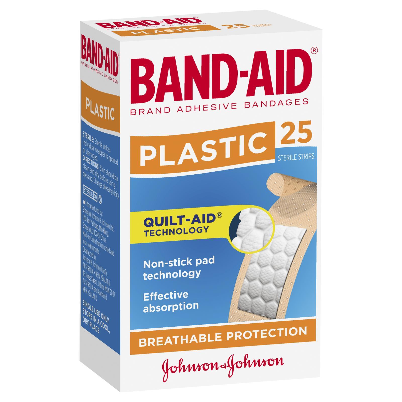 Band-Aid Plastic Contoured Shape 25 Strips
