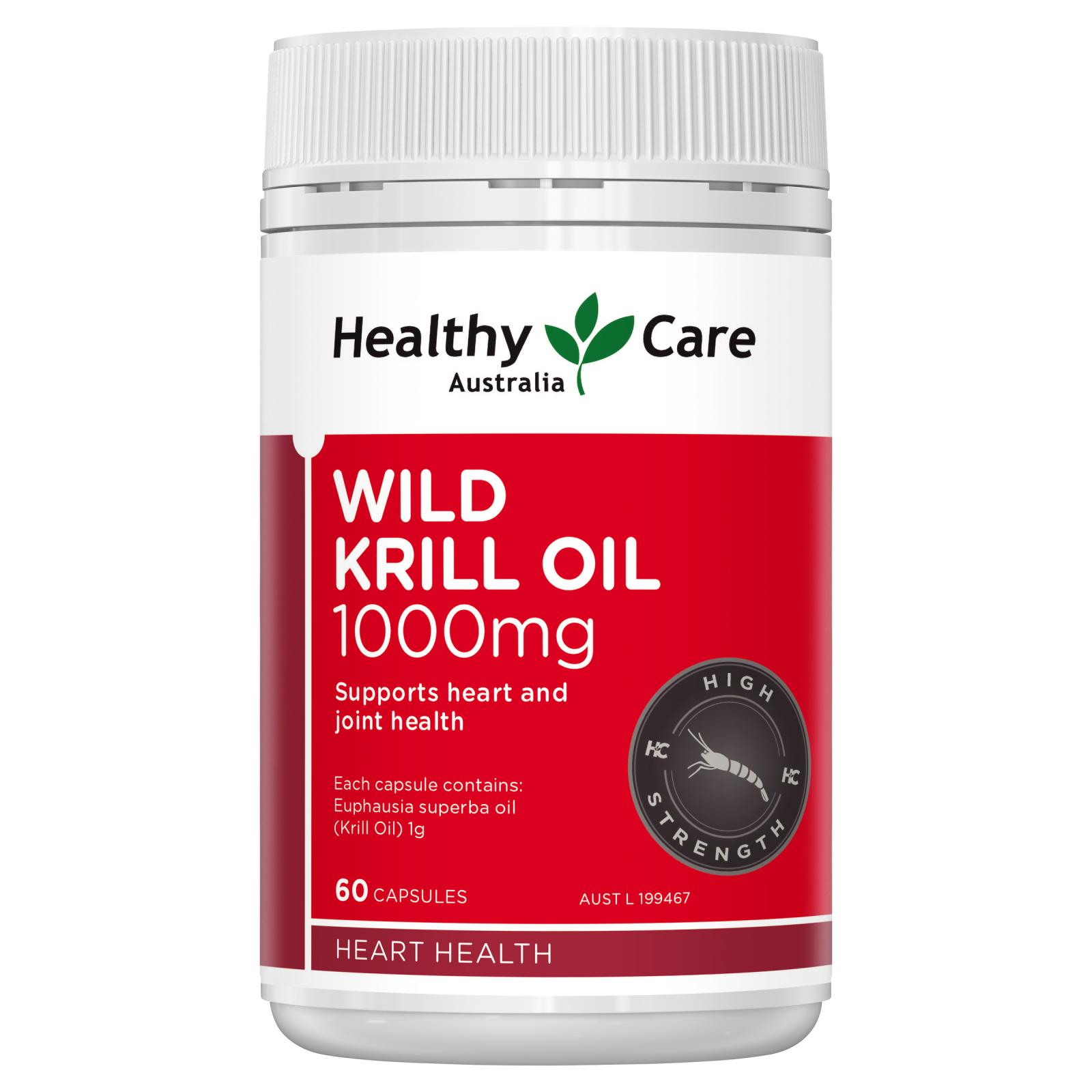 Healthy Care Wild Krill Oil 1000mg Capsules 60