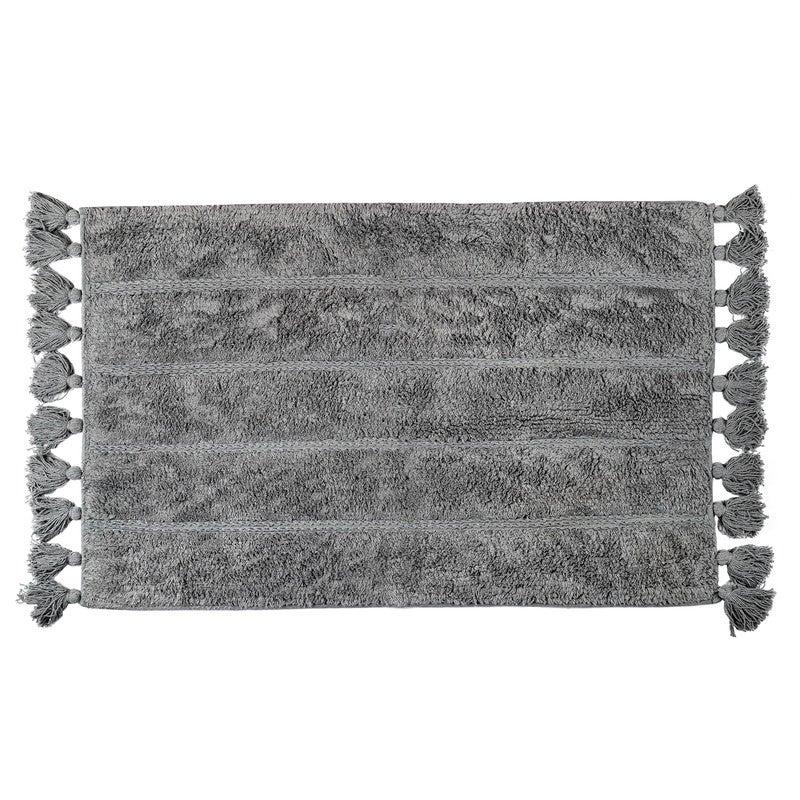 La'Grace Cotton Fringe Stripe Tufted Bathmat-Grey 50 x 80 cm