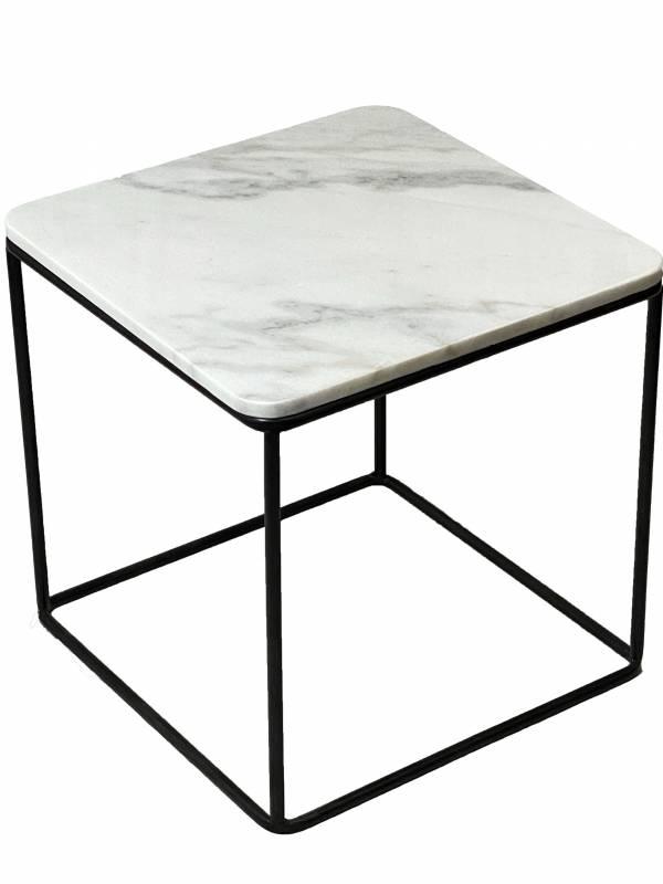 Eddie Marble Side Table Lamp Unit Nightstand Black White 45x45cm