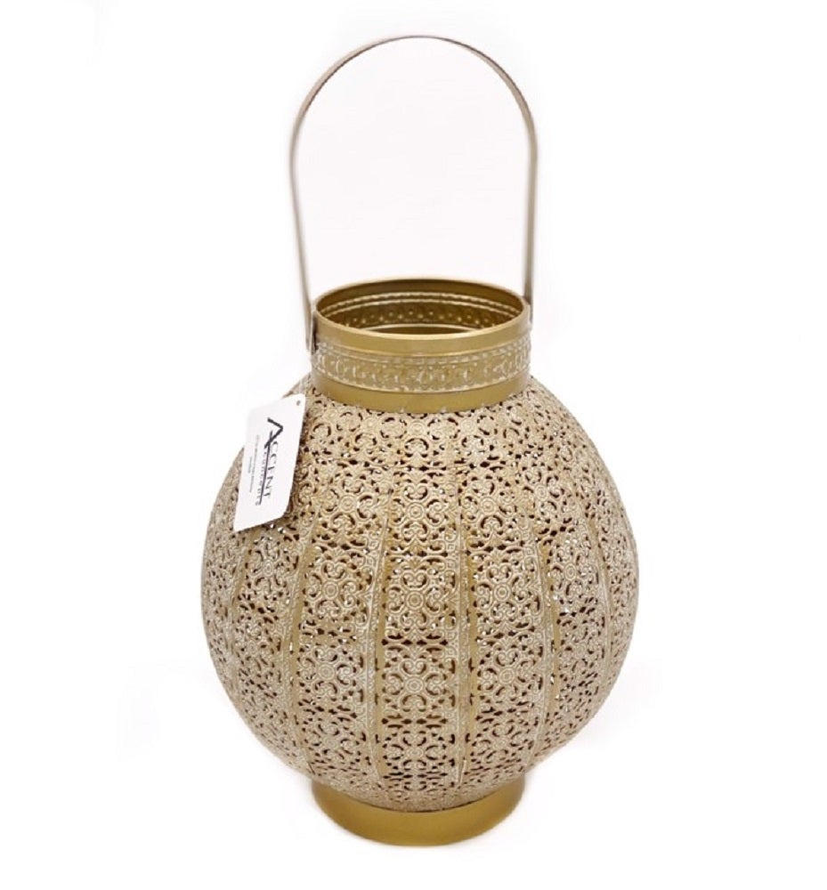 Moroccan Style Round Lantern Candle Holder Tealight Lamp Gold White Wash 24x28cm