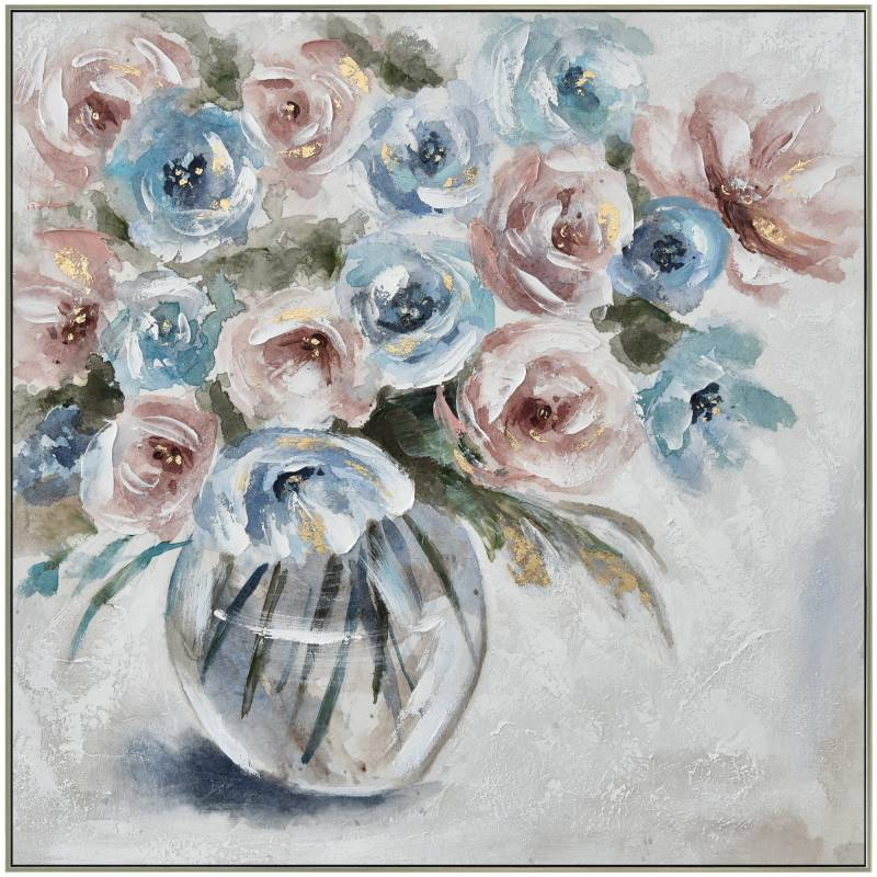 Samantha Flower Framed Canvas Painting Wall Art Picture Print Abstract 80cm