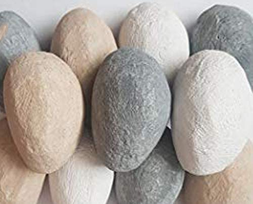 10 Mixed Gas Fire Pebbles. White, Grey and Beige. High Quality, Made in UK. Suitable for Gas/LPG/Living Flame Fires