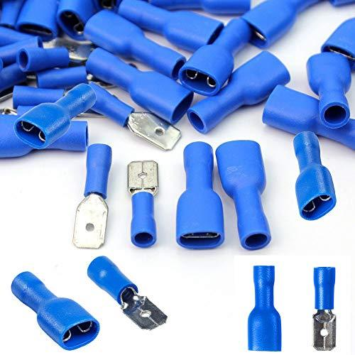 100x Blue Spade Connector Insulated Crimp Terminals for Electrical Wiring - FREE FIRST CLASS UK POSTAGE!