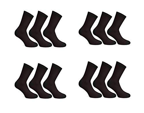 12 Pairs Mens Cotton Diabetic Soft Top Non Elastic Wide Top Socks UK 6-11 (Black)
