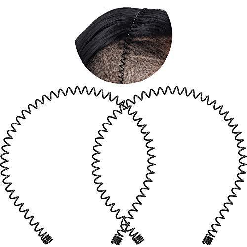 2 Pack Metal Headbands Wavy Hairband Spring Hair Hoop Black Unisex Men Women Slicked Back Headband Elastic Non Slip Outdoor Sports Fashion Yoga(Large Spring)