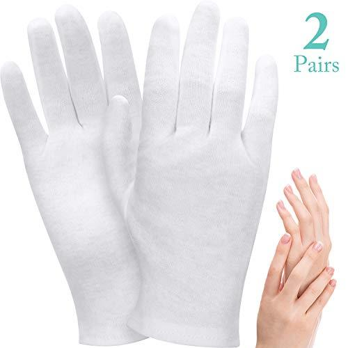 2 Pairs White Cotton Gloves Moisturizing Gloves Soft Elastic Skincare Glove Working Gloves for Women Dry Hands Jewelry Inspection and More, One Size Fits Most