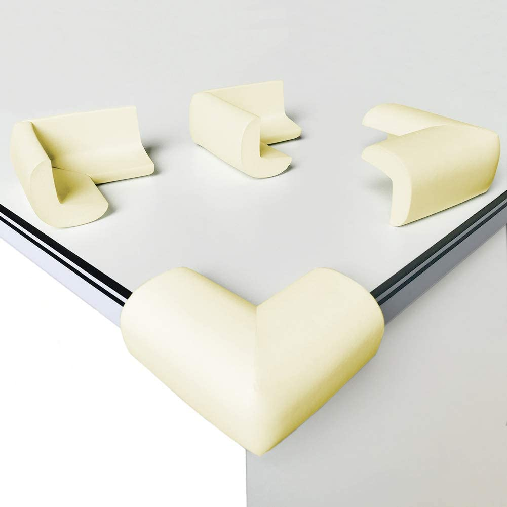[8 Pack] Child Safety Corner Protectors, Canwn Soft Foam Baby Proofing Corner Guards Right Angle No Smell Table Corner Protectors for Baby and Kids(Beige)