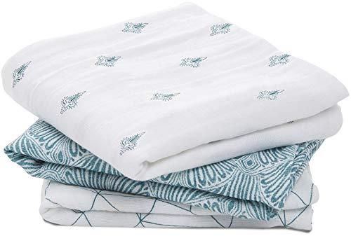 Aden + Anais musy Squares 100% Cotton Muslin seafaring 3-Pack