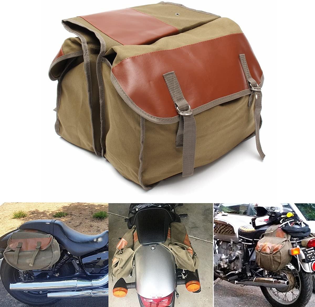 Alamor Motorcycle Canvas Saddlebags Equine Back Pack For Haley Sportster/Honda
