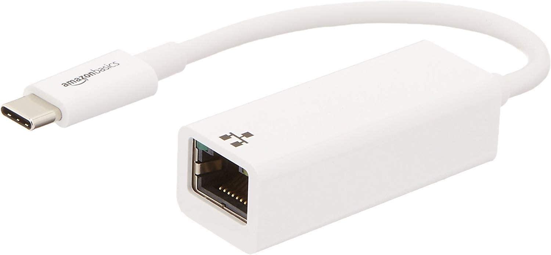 AmazonBasics USB 3.1 Type-C to Ethernet Adapter - White