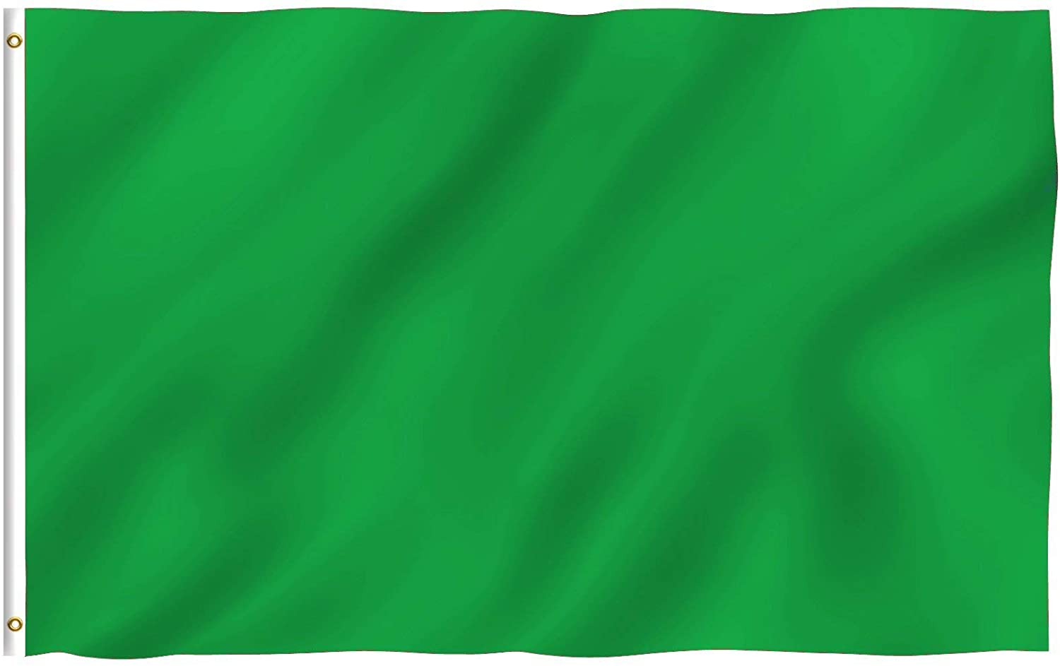 Anley Fly Breeze 3x5 Foot (90 X 150cm) Solid Green Flag - Vivid Color and UV Fade Resistant - Canvas Header and Double Stitched - Plain Green Flags Polyester with Brass Grommets 3 X 5 Ft