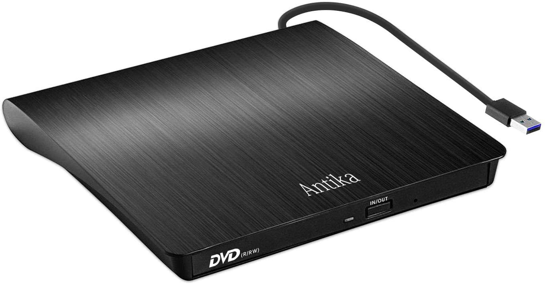 Antika DVD CD Burner External DVD CD Drive USB 3.0 DVD/CD +/- RW Device Portable External Disc Card Reader Compatible with Mac/OS/XP/Win10/Win7/Win8