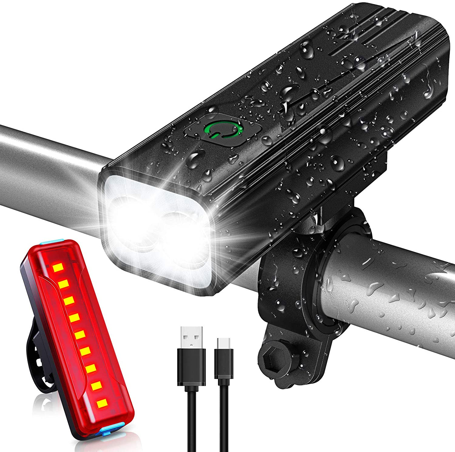 Babacom Bike Lights, 2000 Lumen Super Bright USB Rechargeable Bicycle Light, 5 Adjustable Lightness Cycling Front Light & Rear Light for Cycling Safety with IPX5 Waterproof & 6-50 Hours Running Time