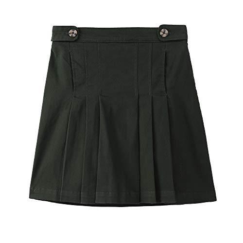 Bienzoe Girl's Cotton Stretch Elastic School Uniform Pleated Skirt XS Black