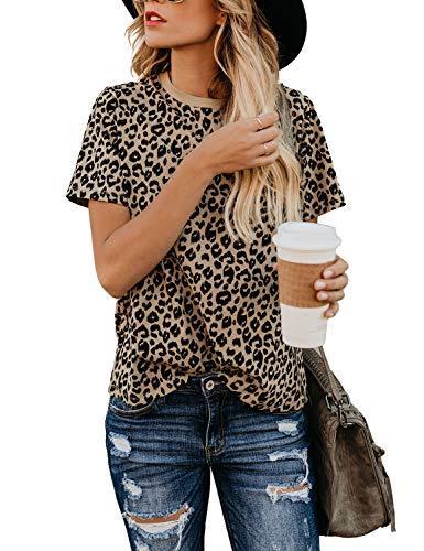 Blooming Jelly Women's Leopard Print Tops Short Sleeve Crew Neck T Shirt Basic Casual Shirt(Leopart,S/6-8)