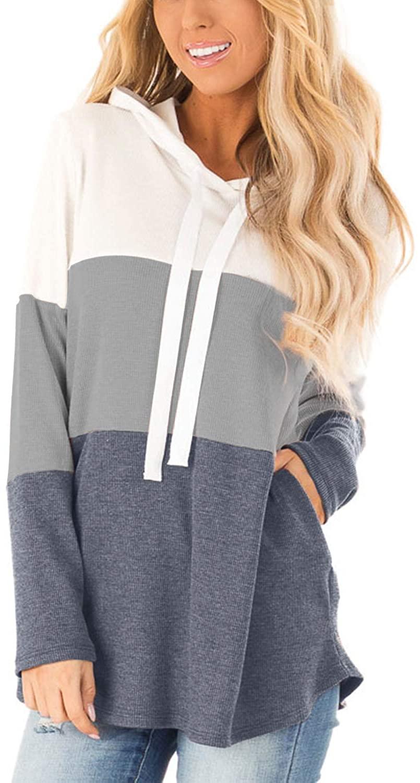 Blooming Jelly Womens Striped Hoodies Long Sleeve Colorblock Drawstring Hoody Sweatshirt Tops with Pockets(Grey,L=UK 14)