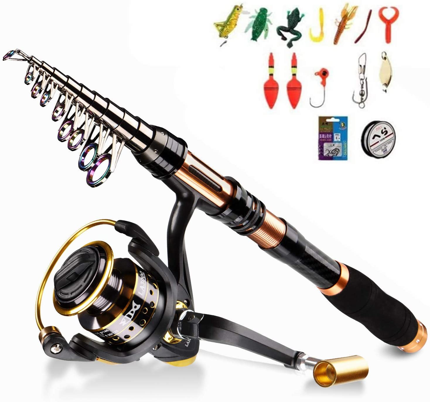 BNTTEAM 6 PACKS Spinning Fishing Rod Combo 99% Carbon Telescopic Retractable Mini Ultra Light 1.8M 2.1M 2.4M 3.0M 3.6M Rod With12BB Fising Reel Lures Hooks Line Float (1.8M/70.8in/5.9ft)