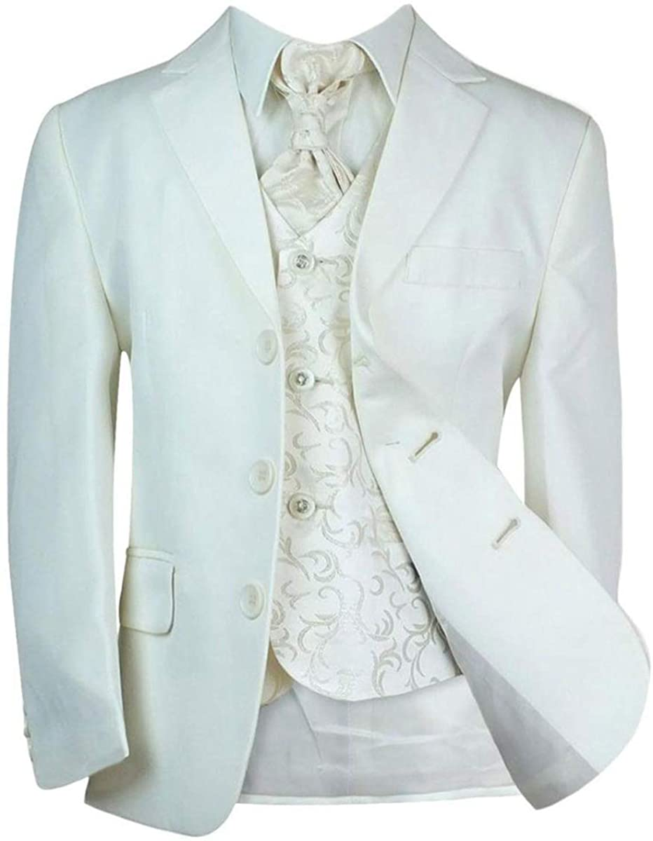 Boys Tailored Fit All in One Holy Communion Formal Suit Set in Ivory, Age 1 Year