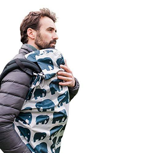 BundleBean Babywearing Lightweight raincover: Waterproof and Windproof Cover for Baby Carrier/Sling Cover. Free Storage Bag, Silky-Soft Waterproof Fabric, Universal, Stunning Designs (Grey Elephant)
