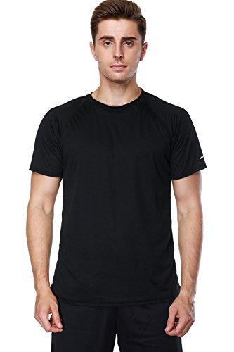 CharmLeaks Men's Short Sleeve Swim Shirts UPF 50+ Sports Rash Guard Vest Top Black M
