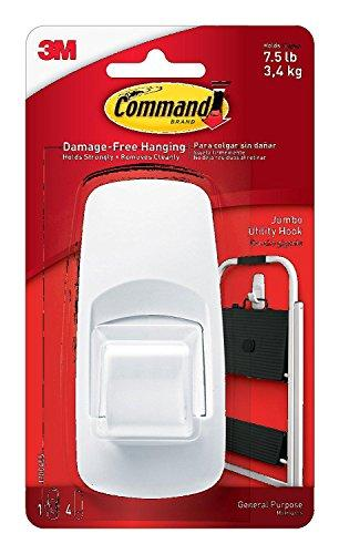 Command Jumbo Hook with Strips - White, Pack of 2