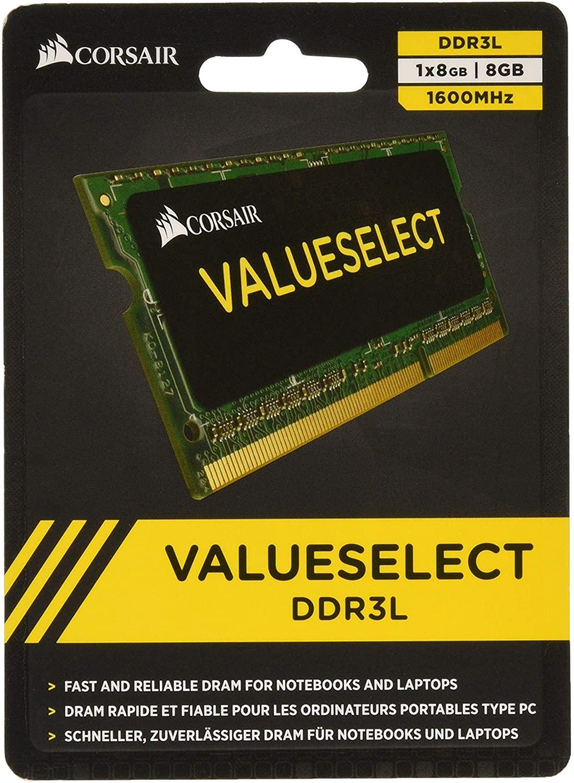Corsair CMSO8GX3M1C1600C11 Value Select 8GB (1x8GB) DDR3 1600Mhz CL11 Mainstream SODIMM Notebook Memory Module Green
