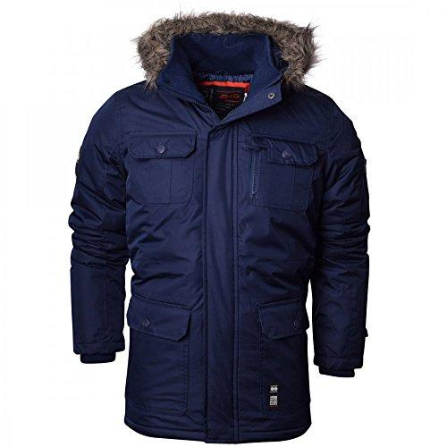 Crosshatch Mens Heavy Weight Fur Hood Parka Padded Waterproof Winter Coat Jacket Black Blue Small Blue - Armour