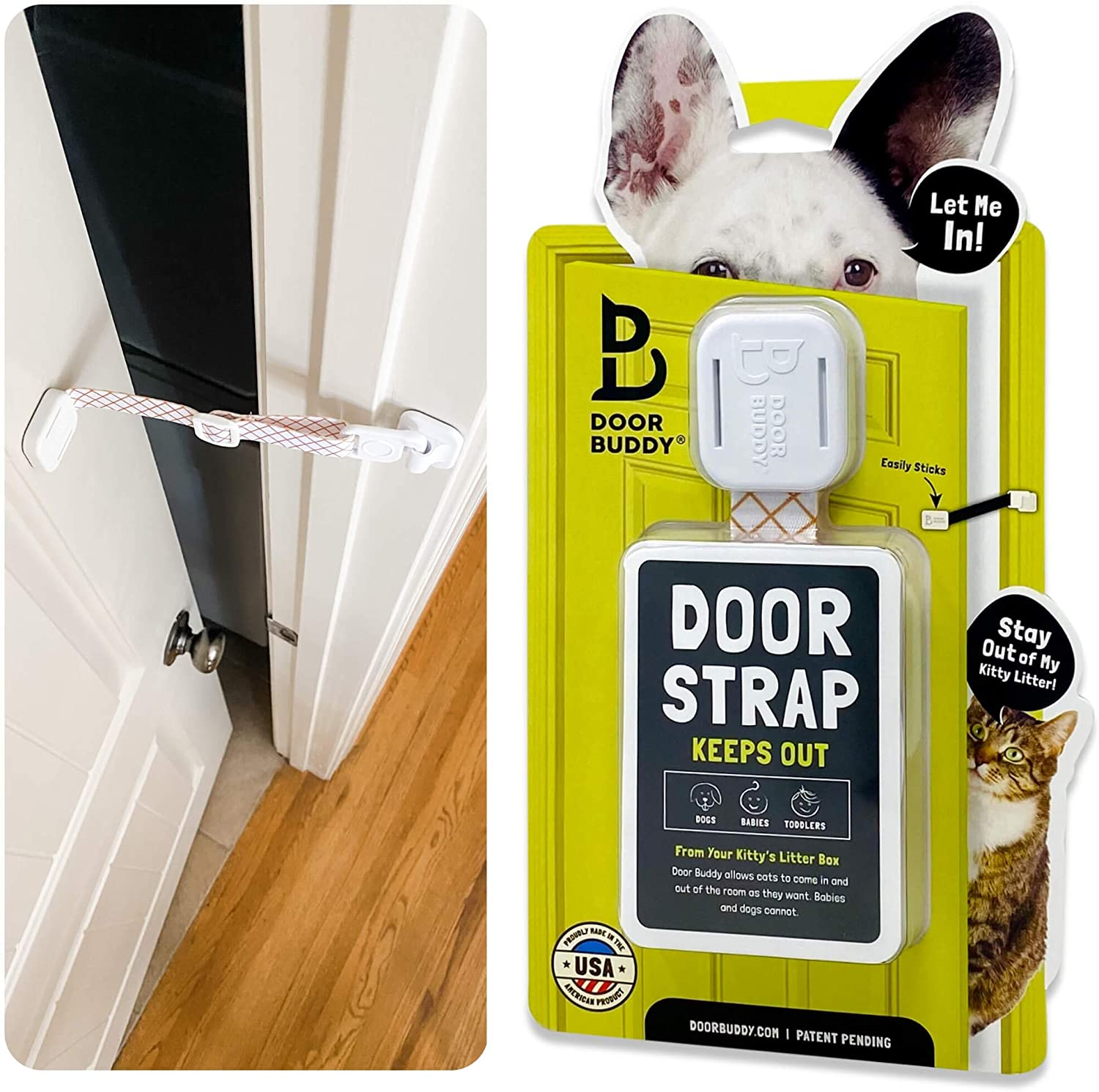 Door Buddy Adjustable Door Latch. Dog Proof Cat Litter Box Without a Dog Gate with Cat Door or Installing an Indoor Cat Door. Simpler Way to Keep Dogs Out of Room with Cat Box (Caramel)